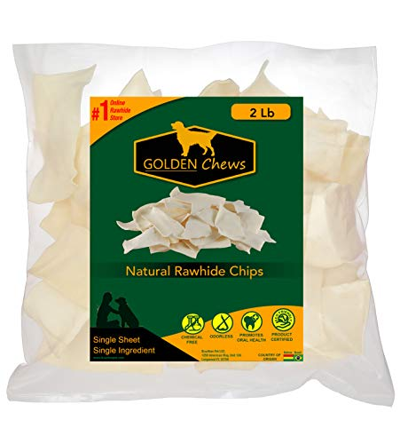 Golden Chews Natural Rawhide Chips – Premium Long-Lasting Dog Treats with Thick Cut Beef Hides (2 Pounds)