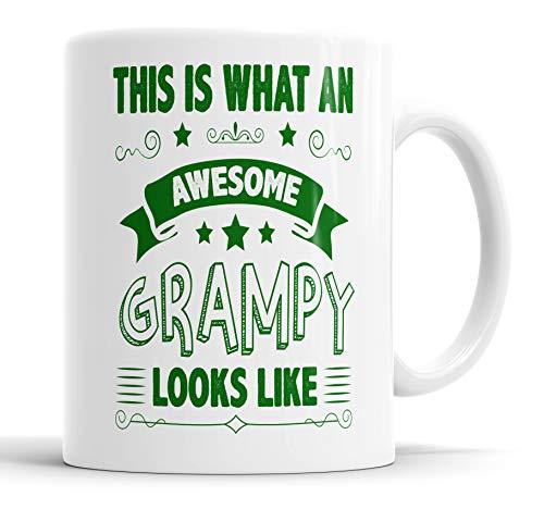 """Taza con texto en inglés """"This is What an Awesome Grampy Looks Like humor, broma, regalo para amigos, cumpleaños, Navidad, tazas de cerámica"""