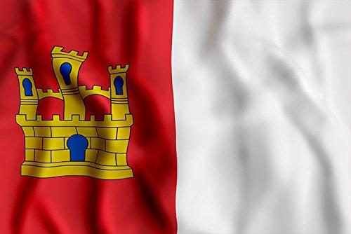 Oedim Bandera de La Comunidad de Castilla la Mancha 85x1,50cm | Reforzada y con Pespuntes| Bandera de La Comunidad de Castilla la Mancha con 2 Ojales Metálicos