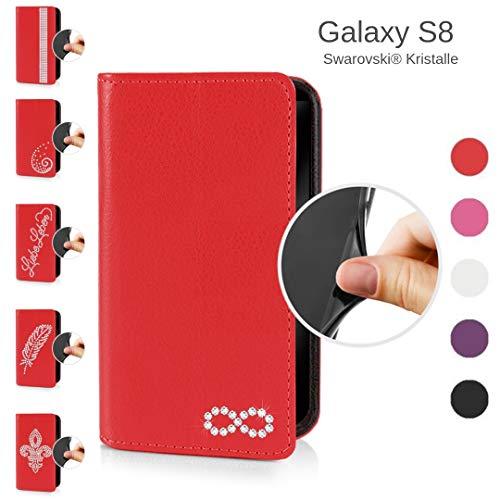 eSPee Handyhülle kompatibel mit Samsung Galaxy - S8 - unzerbrechliche Schutzhülle aus Silikon mit Swarovski Kristallen Unendlichkeit Magnetverschluss und Fach in Rot