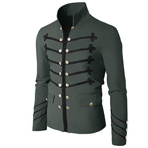 Aiserkly Herren Mantel Jacke Frack Steampunk Gothic Gehrock Uniform Cosplay Kostüm Smoking Mantel Retro Bestickter Knopf Mantel Grau 5XL