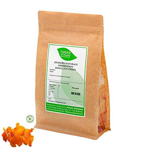 NATURA D'ORIENTE - Zenzero ginger disidratato senza zucchero a fette. - 500g - Prima Qualità, senza anidride solforosa e conservanti.