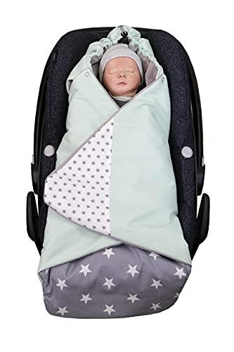 ULLENBOOM Arrullo bebé para verano e invierno | Manta envolvente para el cochecito, silla de paseo | 0-9 meses, certificado | menta gris
