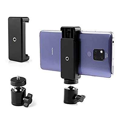 Cell Phone Holder Clip and Ball Head Adapter Set for Tripod and Selfie Stick with 1/4 Screw, Universal Tripod Mount, Camera Tripod Ball Head, 360 Degree Swivel Cell Phone Tripod Mount Set from Kicoeon