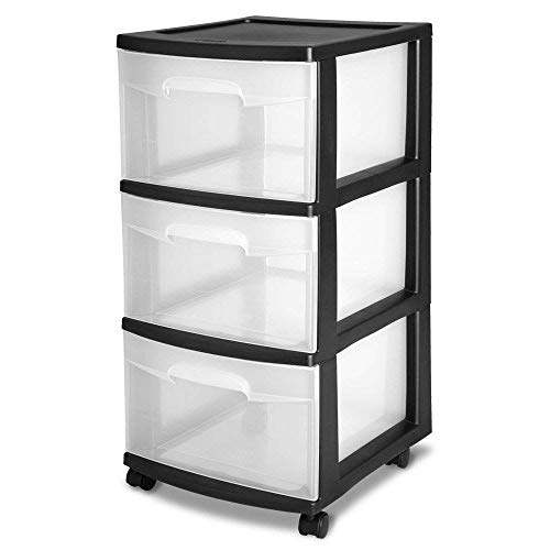 STERILITE 3-Drawer Storage Cart with Clear Drawers and Black Frame | 28309002