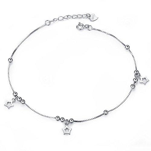 Kim Johanson Damen Armband *Silver Star* aus Edelstahl in Silber mit beweglichen Sternen & Kugeln Länge: 22cm - 26cm inkl. Schmuckbeutel