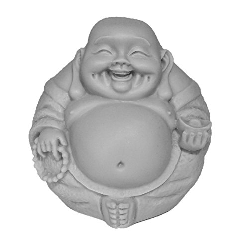 3in Happy Buddha Statue/Laughing Buddha Figurine/Idol. Made of Poly Marble. Premium Quality Buddha Decor. (Grey Natural Stone Color Finish)