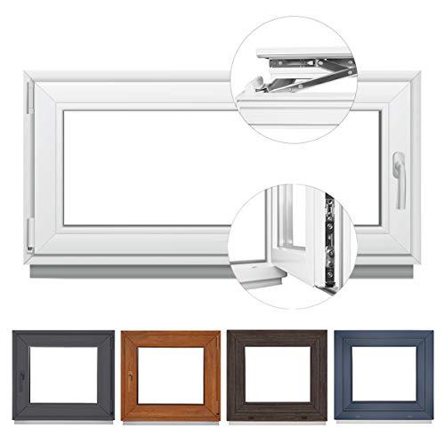 Fenster Kellerfenster Kunststofffenster BxH 80x40 cm 2 fach Verglasung Dreh Kipp Weiß – Premium (BxH 80x40 cm DIN rechts)