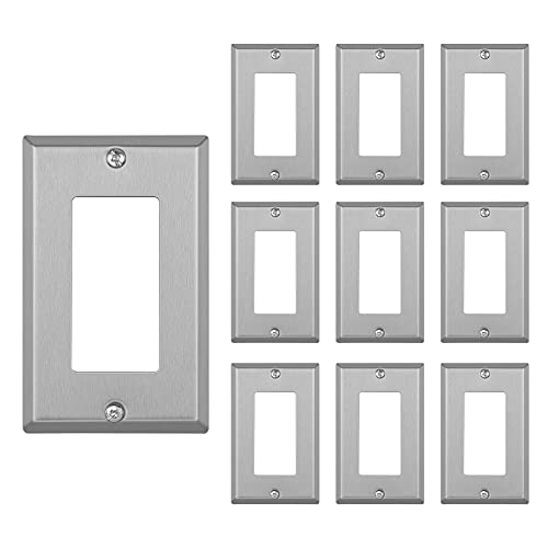 DEWENWILS Decorator Metal Wall Plate, 10-Pack Stainless Steel Outlet Cover for Receptacle, Dimmer Switch, Corrosion Resistant, Brushed Finish, Silver, ETL Listed