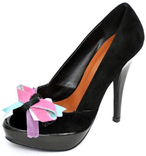 Damen Schuhe Burlesque Samt Coloured Bow Retro High Heels Schwarz Peep Toes 41