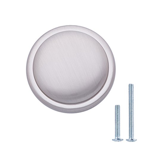 Amazon Basics - Pomolo a fungo piatto per mobili, Diametro: 2,9 cm, Nichel satinato, confezione da 25