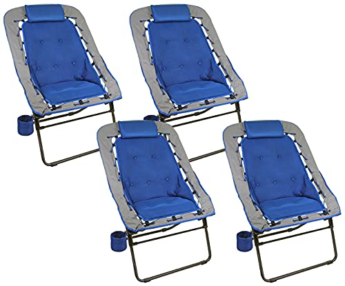 Foldable Rectangular Air Mesh Indoor Outdoor Bungee Chair (Pack of 4)