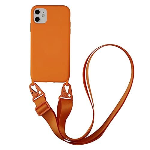Cadena para teléfono móvil compatible con iPhone XS Max, funda de nailon, correa de hombro suave de silicona TPU con cordón para colgar, funda protectora con elegante banda para iPhone XS Max, naranja