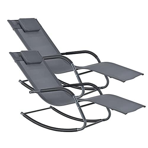 sedia sdraio gambe [en.casa] Set di 2 Lettini Prendisole a Dondolo con Cuscino Poggiatesta Rimovibile
