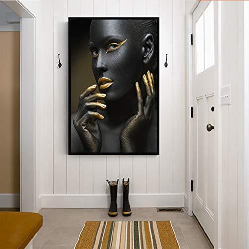 NIMCG Retrato Pared Arte Lienzo impresión Multi Africano Chica Lienzo Pintura para Sala de Oficina hogar decoración de la Pared Goteo Barco (sin Marco) R2 30x45 cm