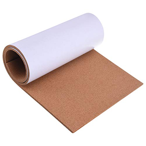 """SUNGIFT Cork Board Roll 8 mm Thick - 50""""x16"""" Cork Rolls Bulletin Boards Self-Adhesive Natural Cork Tiles with 100 Push Pins Mini Wall Frameless Corkboards for Wall"""