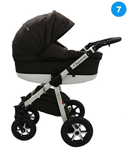 Kombi Kinderwagen Travel System QUERO BABYSPORTIVE 3in1 Buggy Sportwagen + Babyschale Carlo 0-10kg (7. braun)