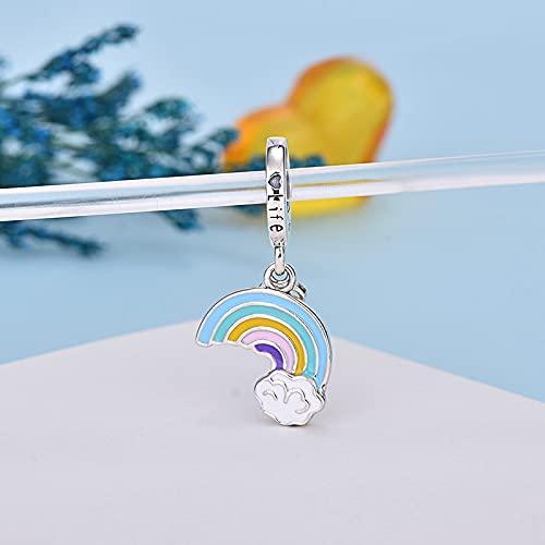 YYFHHK S925 Plata De Ley RainbowCharm Bead Fit Original 3Mm Pulseras Collar Colgante para Mujer Accesorios De Joyería