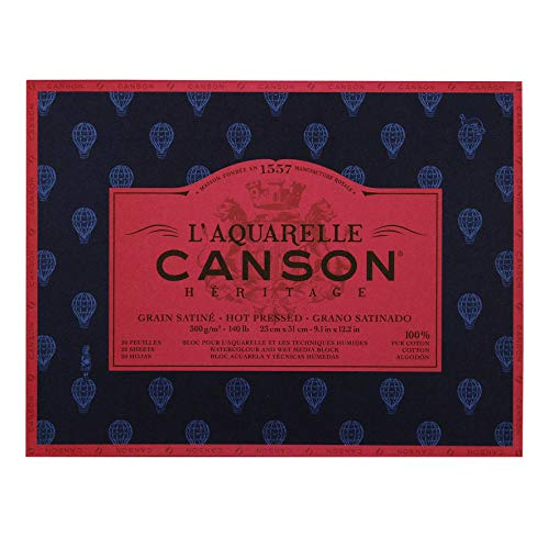 Canson Heritage Watercolour Pad, Sticks, 4 Sides, 20 Sheets, Satin Grain Satin Finish 23 x 31 cm