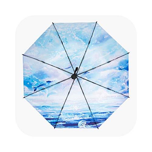 Paraguas de plástico negro plegable lluvia y lluvia doble uso sombrilla parasol protector solar anti-ultravioleta