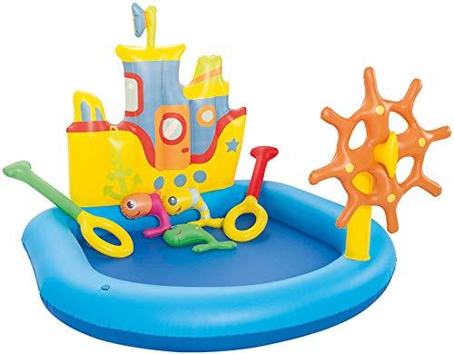 FLYTYSD Aufblasbares Planschbecken, Kreuzfahrtschiff Baby Pool Mit Sonnenschutz, Splash Kinderzelt Schwimmbecken, Kinder&Toddlers Sommer Wasserspielzeug Sommergeschenk Für Garten Strand
