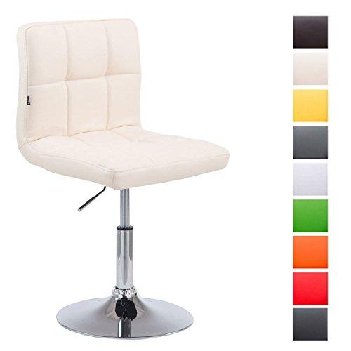 Drehstuhl Palma V2 mit hochwertiger Polsterung und Kunstlederbezug I Höhenverstellbarer Esszimmerstuhl mit Metallgestell in Chrom-Optik, Farbe:Creme