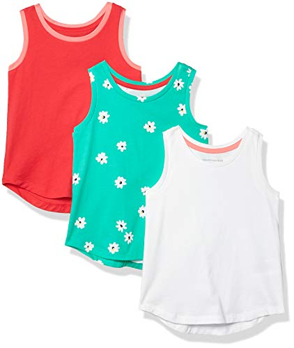 Amazon Essentials Girls' 3-Pack Tank Top, Green Flower/Pink/White, XXL