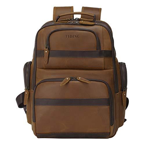 Tiding Men's Leather Backpack Vintage 15.6 Inch Laptop Bag Large Capacity Business Travel Hiking Shoulder Daypacks with USB Charging Port & YKK Zipper