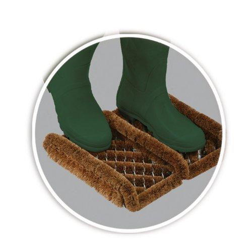 Grattoir à bottes en fibre de coco et fil de fer résistant pour extérieur 35 cm x 30 cm