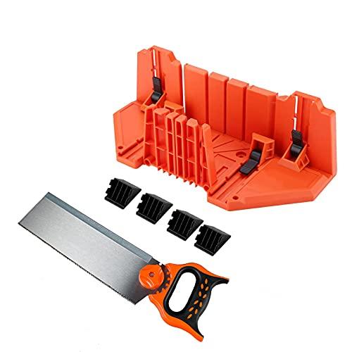 """Caja de ingletes de 14""""Caja de ingletes de sujeción de múltiples ángulos de alta resistencia con sierra trasera de 12"""" para manualidades"""