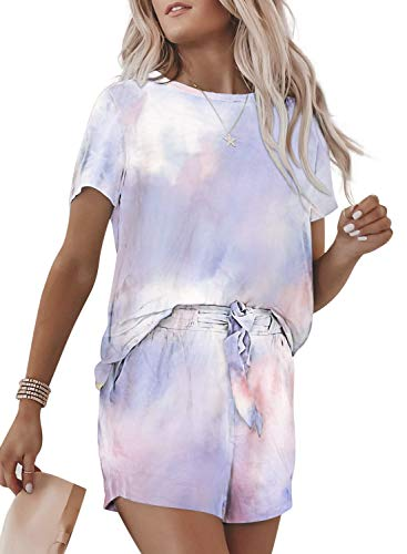 Dearlovers Women Summer Tie Dye Print Loose Casual Outfit Short Sleeve Round Neck Top with Drawstring Shorts Multicolored Medium