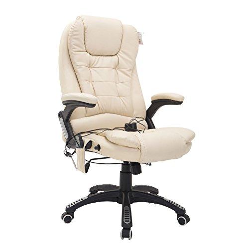 HOMCOM Bürosessel Bürostuhl Chefsessel Gamingsessel Massagesessel 6 Punkt Vibrations Massage mit Wärmefunktion drehbar (Creme)