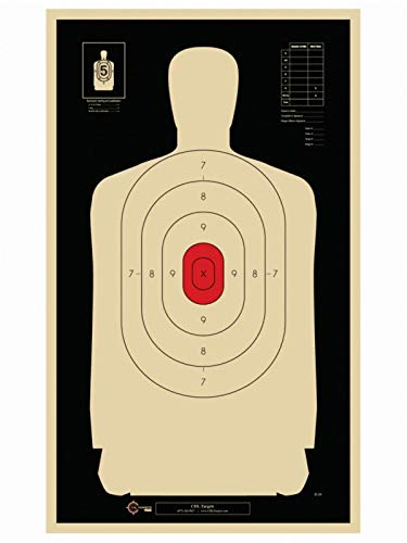 Official B34 Target 25 Yard Police Pistol Silhouette Target Reduced from 50 Yard B27 Reverse Red Center 50