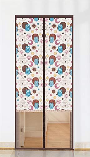 Liveinu - Cortina magnética para puerta, mosquitera antimoscas, mosquitos, malla bordada, con imanes con marco completo de aro y lazo a rayas, 88,9 x 193 cm, diseño de búho