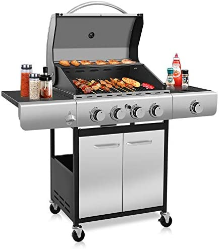 Kismile Two Burners Liquid Propane Gas Grill, 16000 BTU BBQ Gas Grill with Stainless steel, Enamelled Cooking Grills, Gas BBQ Wagon for Outdoor Use (Two Burners)
