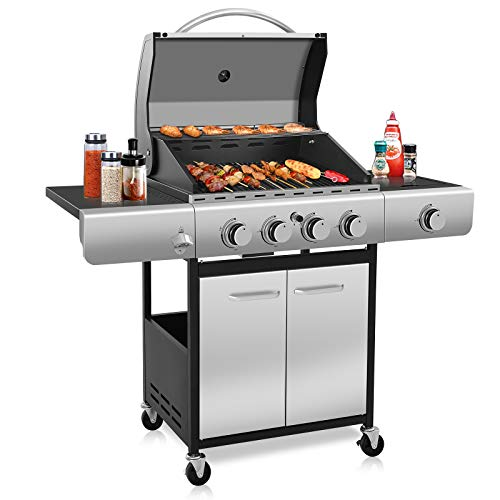 Kismile 4-Burner Liquid Propane Gas Grill, 42000 BTU BBQ Gas Grill with Stainless steel & Enamelled Cooking Grills, Perfect Gas Barbecue Wagon for Outdoor Grills Propane