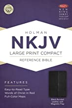 NKJV Large Print Compact Reference Bible, Black Bonded Leather with Magnetic Flap