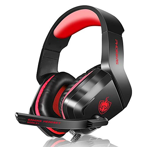 YOTMS ゲーミングヘッドセット ヘッドホン PS4、Xbox one、PC、Mac 3.5mmデバイス用 軽量 通気 高集音性 高音質 ノイズ低減マイク付きヘッドフォン 男女兼用 レッド