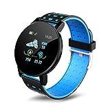 SSGLOVELIN 2020 Nuevo Reloj Inteligente 119 Plus Pulsera Hombres Mujeres Niños Control de Actividad podómetro Contador de Paso del Reloj del Deporte for Android iOS (Gem Color : Blue)