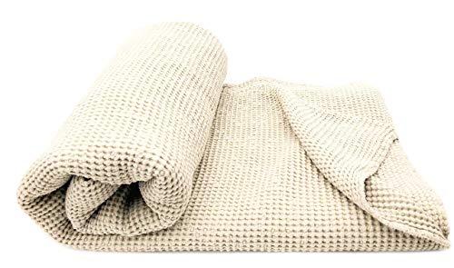 JOWOLLINA XXL Waffelpique Bettüberwurf Plaid Decke 230 x 240 cm Halbleinen Stonewashed vorgewaschen (Creme/Soybean)