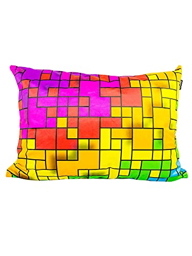 PSYWORK Cojín de luz negra Neon Fancy Rainbow Pixel, 50 x 70 cm