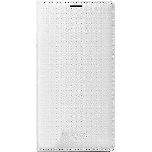 Samsung G900F Flip Wallet Cover für Samsung Galaxy S5 G900F in Weiß Punching Pattern mit Visitenkartenfach
