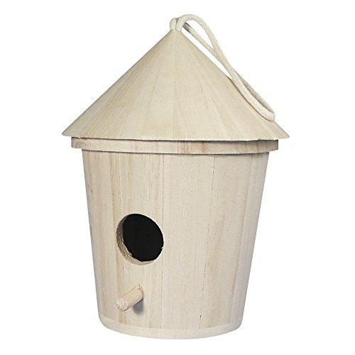 Rayher 62280000casetta nido mangiatoia per uccelli in legno naturale cilindrica con tetto conico e foro d'entrata FSC Mix Credit, 16cm