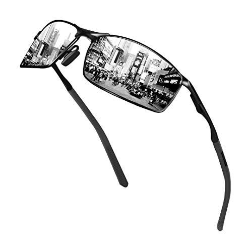 Sunmeet Gafas de Sol Hombre Polarizadas Deportes 100% Protección UV Gafas de sol para Hombre Conducción S1008(Plateado/Negro)