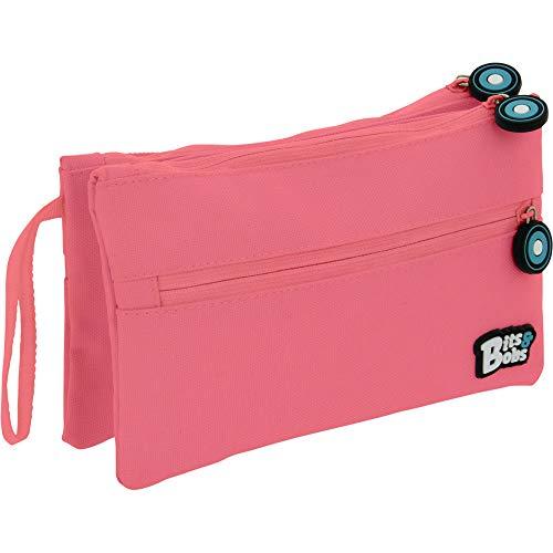 Grafoplás 37545353. Estuche Plano Doble Escolar, Color Rosa Claro, 21x12cm, Bits & Bobs