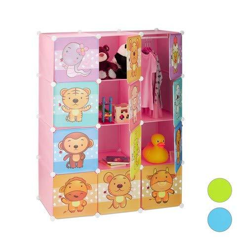 Relaxdays insteekkast kinderkamer, diermotieven, meisjes, deuren, kledingstangen, kunststof kledingkast 145 x 110 cm, roze, standaard