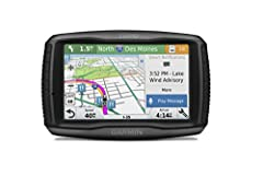 Premium motorcycle GPS for new adventures in riding Glove- , sunlight-readable 5-inch dual-orientation touchscreen with rugged design for harsh weather (IPX7) Garmin Adventurous Routing finds curvy or hilly roads; limits major highways Rider alerts f...