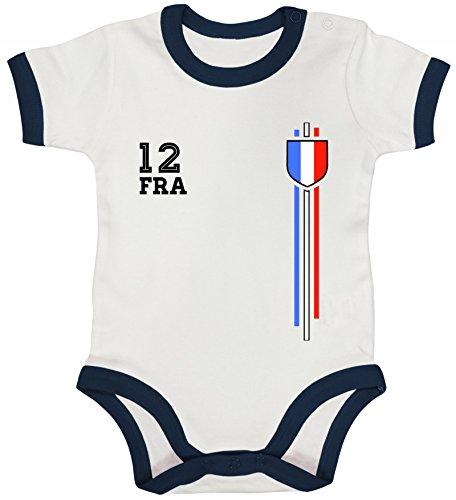 ShirtStreet France Soccer World Cup Fussball WM Fanfest Gruppen Ringer Strampler Baumwoll Baby Body kurzarm Jungen Mädchen Streifen Trikot Frankreich, Größe: 12-18 Monate,White/Nautical Navy