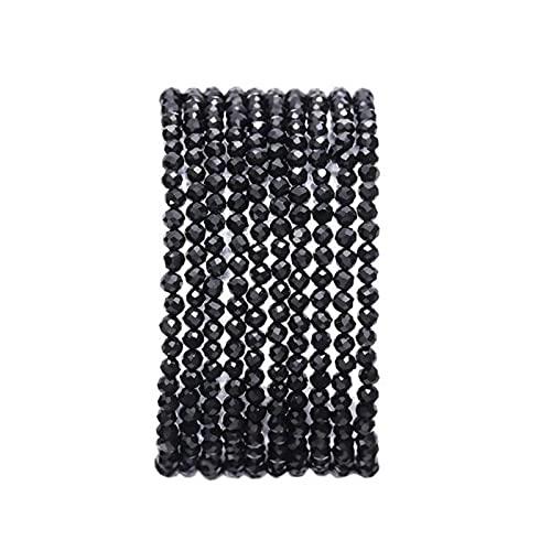 ZXCM Pequeñas Cuentas de Piedra Natural Turmalina 2/3 / 4mm Cuarzo amatistas ágatas Perlas de Cristal facetadas para la joyería Que Hace Bricolaje Pulsera