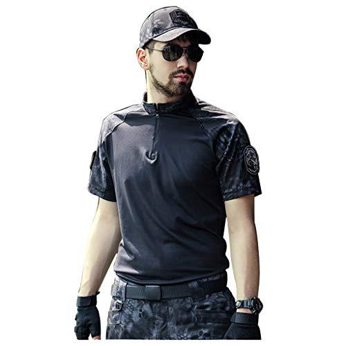 MKJYDM Camouflage-Anzug schwarz Sommer kurzärmelige Camouflage-Hose Set Kragen schnell trocknende Serie Outdoor-Camping militärische Ausbildung Jagd Sport Bergsteigen zweiteilig Tarnen (Size : L-XL)